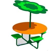 Стол с теневым навесом для детского сада МАФ-СД-11.01