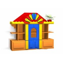 Стенка для игрушек «Теремок» (фанера) МД-08.04-Ф
